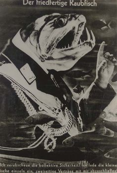I think, from the uniform insignia, this fish-Fascist is Heinrich Himmler. Photomontage, John Heartfield, Political Art, Political Events, Photoshop, Art Archive, Sketchbook Inspiration, Russian Art, Magazine Art