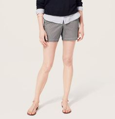 Seersucker Shorts with 6 Inch Inseam | Loft