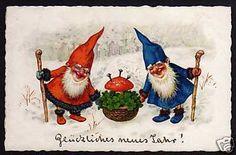 53956 AK Neujahr Zwerge Pilz Glücksklee 1928