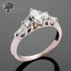 Engagement ring made of white gold with three big diamonds. Lovely. Only in 79diamenty.pl