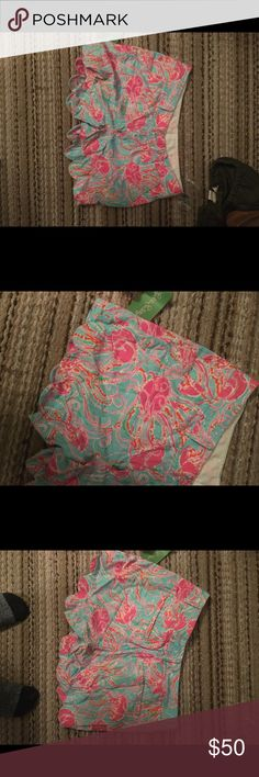 Lilly Pulitzer shorts Lilly Pulitzer shirts, size 2 Jellyfish design, scalloped edges. Never worn. Lilly Pulitzer Shorts Bermudas