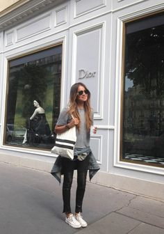 #SincerelyJules takes our Nicola Leather Super Skinny to #Paris. Click to shop her look.