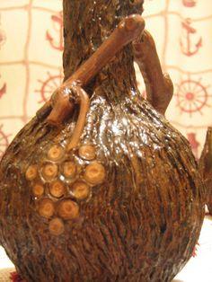 Sticla 750 ml imbracata in lemn - aspect de scoarta de copac
