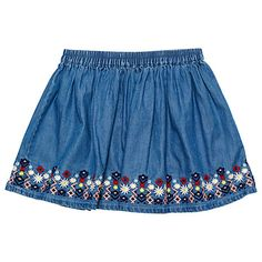 Margherita Kids Girls' Embroidered Chambray Skirt, Blue #margheritakids #fw16 #backtoschool