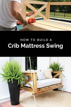 How to Build a DIY Crib Mattress Porch Swing Learn how to build a DIY porch swin. How to Build a D Diy Swing, Patio Swing, Pallet Swing Beds, Bench Swing, Patio Decks, Farmhouse Porch Swings, Porch Swings Plans, Outdoor Swings, Diy Crib