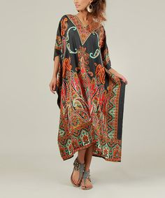 Take a look at this Black & Red Paisley Kaftan Dress - Women by Kushi by Jasko on #zulily today!