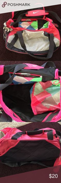 Shop Women s Nike Pink Gray size OS Travel Bags at a discounted price at  Poshmark. Description  Used Nike duffle bag. Has a pocket for shoes and an  outside ... 46670f4c42