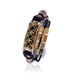 Fitbit flex leather bracelet FUSION Gold/Black made from