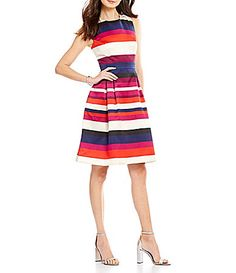 $148.00 - Vince Camuto Stripe Mikado Tank Fit and Flare Dress