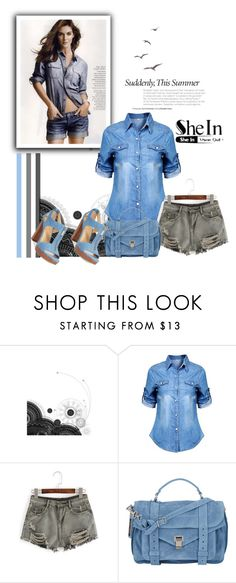 """""""WIN Grey Denim Shorts by shein"""" by ramiza-rotic ❤ liked on Polyvore featuring WithChic, Proenza Schouler and Michael Kors"""