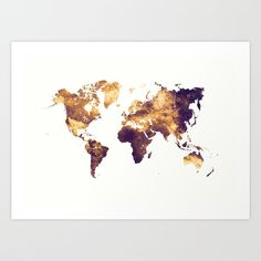 world map 129 #worldmap #map Art Print (€18) ❤ liked on Polyvore featuring home, home decor, wall art, map wall art and map home decor
