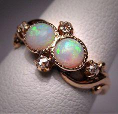 Antique Opal Diamond Ring Vintage Victorian Wedding Gold. $985.00, via Etsy.