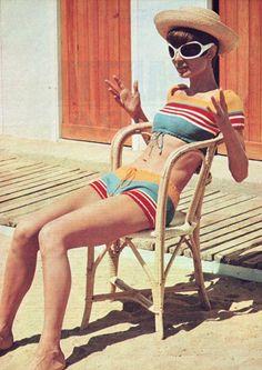 Audrey Hepburn in France #vintage #swimsuit
