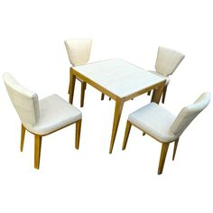 JEAN ROYÈRE documented playing card set made of four 'ecusson' chair and one table covered in Rabanne cloth.
