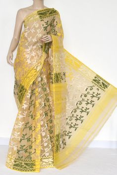 Fawn Deep Yellow Handwoven Bengali Tant Kora Cotton Jamdani Saree (Without Blouse) 17220