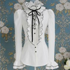 Womens-Victorian-Frilly-Ruffle-Sleeves-Black-Bow-Tops-High-Neck-Shirt-Blouse-Sz