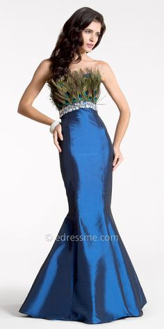 Navy Peacock Feather Embellished Evening Gowns by Nika