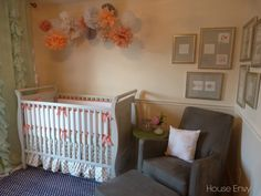 Coral, Mint and Navy Nursery featuring the Luca glider and ottoman found on Project Nursery from house envy blog.