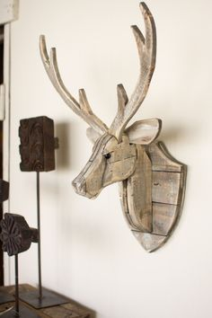 Kalalou Recycled Wooden Deer Head Wall Hanging More