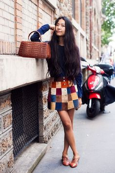 Colourful patch work mini skirt + blue sweater + brow snakeskin handbag