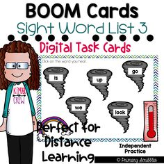 This deck contains 25 cards relating to the topic of Sight Words. This is the third list in a series of other lists that can be found in my Boom or TPT store. This deck focuses on five sight words (up, go, we, is, look). Within this deck, students will match sight words with sound, find missing letters in sight words, spell the word, and type the word. Enjoy this Product. Perfect for 1:1 technology and distance learning! Sight Words List, Dolch Sight Words, Sight Word Practice, Reading Skills, Guided Reading, Motivational Activities, Sight Word Activities, Literacy Stations, Flipped Classroom
