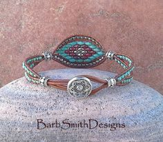 Turquoise Silver Leather One Wrap Beaded by BarbSmithDesigns