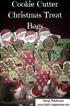 I had some extra Christmas candy laying around, and all the supplies to make some treat bags, so off I went! First I grabbed by 2×8 cellophane bags and loaded them up with candy.  Then, I took…