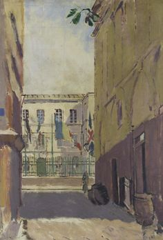 Walter Sickert (British, 1860-1942), Celebrations, Dieppe, c.1911. Pencil and oil on canvas, 36 x 25 in.