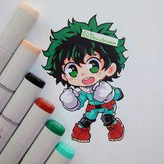 My hero academia Deku Anime Chibi, Anime Kawaii, Manga Anime, Kawaii Chibi, Cute Chibi, Kawaii Art, Anime Art, Copic Drawings, Kawaii Drawings