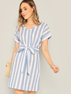 Shop Two Tone Striped Belted Dress online. SheIn offers Two Tone Striped Belted Dress & more to fit your fashionable needs. Women's Dresses, Casual Dresses, Sheath Dresses, Belted Dress, Striped Dress, Shein Dress, Mode Boho, How To Roll Sleeves, Latest Dress