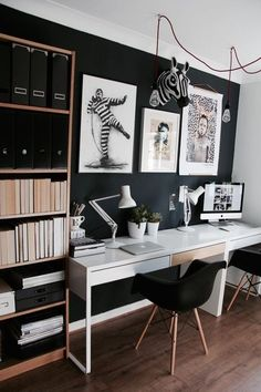 Trendy home office design modern apartment therapy ideas Bureau Design, Home Office Space, Home Office Design, Office Designs, Interior Office, Office Spaces, Apartment Therapy, Office Wall Decor, Trendy Home