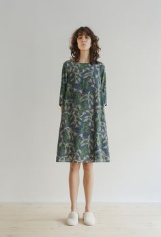 f5cb8684442e Printed silk dress sleeved, A-lined Boat neck, button fastening at back  Fully lined Comes.
