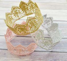 Lace Crowns, Gold Crown, Pink Crown, Silver Crown, Birthday Crown, Newborn Crown, Photo Prop Crown