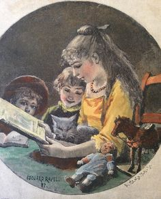"""woodengraving after Ravel, """"Reading the children"""", 1883, handcolored, antique"""