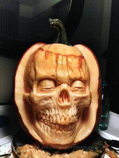 Easy Pumpkin Carving, Awesome Pumpkin Carvings, Pumpkin Carving Contest, Skull Pumpkin, Scary Pumpkin, Pumpkin Art, Pumpkin Ideas, Diy Halloween, Halloween Pumpkin Designs