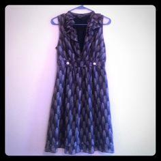 Adorable ruffle top dress I heart Ronson. Ruffle dress. V neck. Lined. Side zipper. I love this dress and wish it still fit! I Heart Ronson Dresses