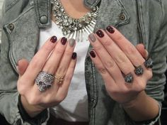 Gray Nails, Love Nails, How To Do Nails, Fun Nails, Style Nails, Fall Manicure, Manicure And Pedicure, Runway Nails, Fall Nail Trends