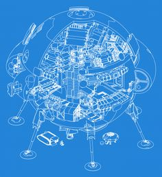 "Work in progress in blueprint: BATTLE variant of 3D ""Korvettenprojekt"" for  PERRY RHODAN by Holger Logemann."