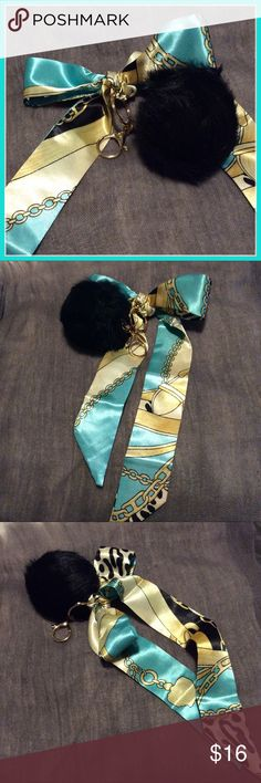 🎀 New 2pc: Silk ribbon & blk furball keychain Very pretty multipurpose cute black and gold animal print silk ribbon with gold faux fur black keychain with lobster clasp. Twilly scarf bandana purse wrap handle . NWOT Accessories Key & Card Holders