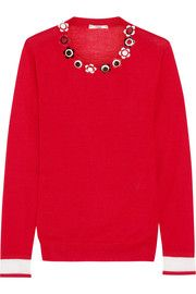 Fendi Embellished cashmere and silk-blend sweater