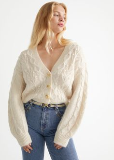 Cable Knit Wool Cardigan - Cream - Cardigans - & Other Stories GB