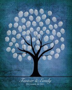 Winter wedding fingerprint tree $15