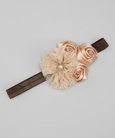 Take a look at this Brown & Taupe Pearl Rose Headband by Pixie Dust Pretties on #zulily today!