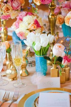 Turquoise Pink and Gold Reception Table Decor 3