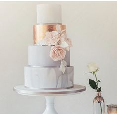 Grey and rose gold cake by Poppy Pickering