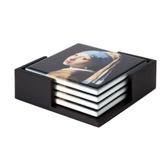 Girl with a Pearl Earring coaster set of 4 Girls Earrings, Pearl Earrings, Most Famous Paintings, Johannes Vermeer, Ceramic Coasters, Decorative Tile, Old Master, Rembrandt, Wooden Tables