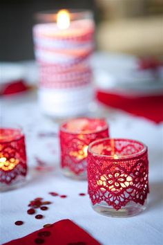 red lace candle holders