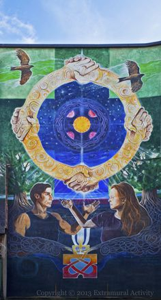Ring of Peace, a massive mural painted in Belfast Northern Ireland for the 1998 Peace accords with Catholic and Protestant artists.