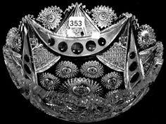 "Meriden, Byzantine, American brilliant cut glass, 8"", 13-5h."