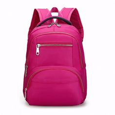 7b5ef35a6c 2017 Women Waterproof Nylon Backpack Zipper Backpack Female Solid Color  Fashion School Bags For Teenagers Girl Travel Bag